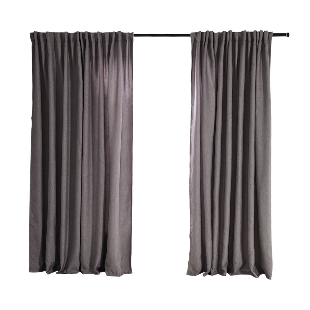 2X Blockout Curtains Curtain Living Room Window Grey 132CM x 213CM