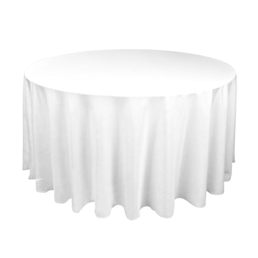 1 Pc 220cm White Round Fitted Tableclothes Hemmed Edges Trestle Event Wedding