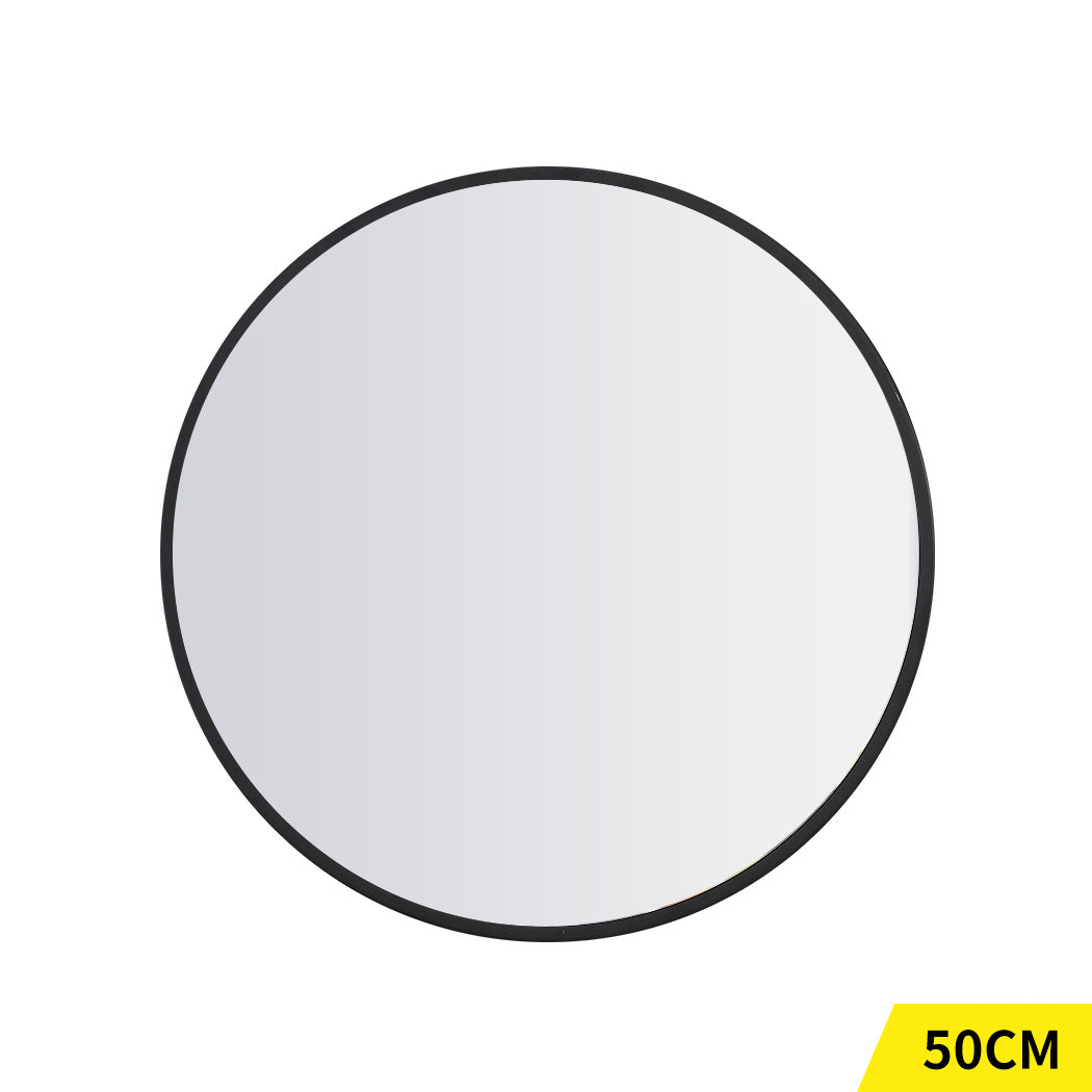 Wall Mirror Round Shaped Bathroom Makeup Mirrors Smooth Edge 50CM
