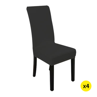 4x Stretch Elastic Chair Covers Dining Room Wedding Banquet Washable Black