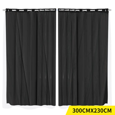 2x Blockout Curtains Panels 3 Layers with Gauze Room Darkening 300x230cm Black