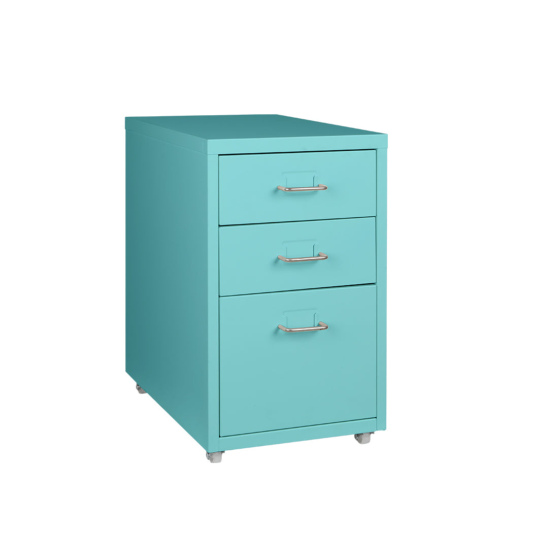 Filing Cabinet Storage Cabinets Steel Metal Home Office Organise 3 Drawer Blue