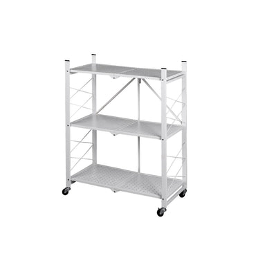Foldable Storage Shelf Display Rack Bookshelf Bookcase Wheel Collapsible Cart