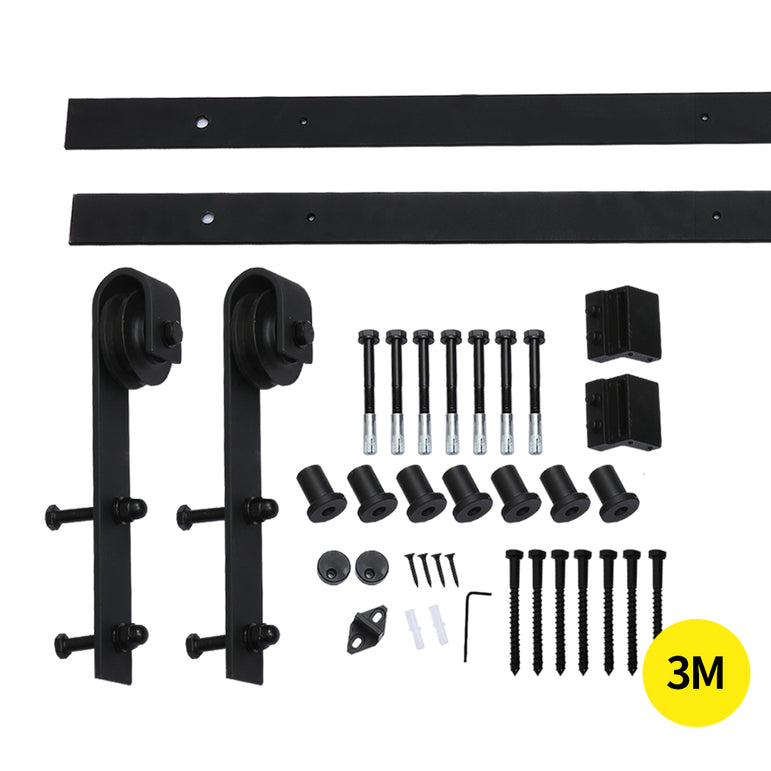 3M Antique Classic Style Double Sliding Barn Door Hardware Track Roller Kit