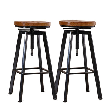 2x Levede Industrial Bar Stools Kitchen Stool Wooden Barstools Swivel Chiars