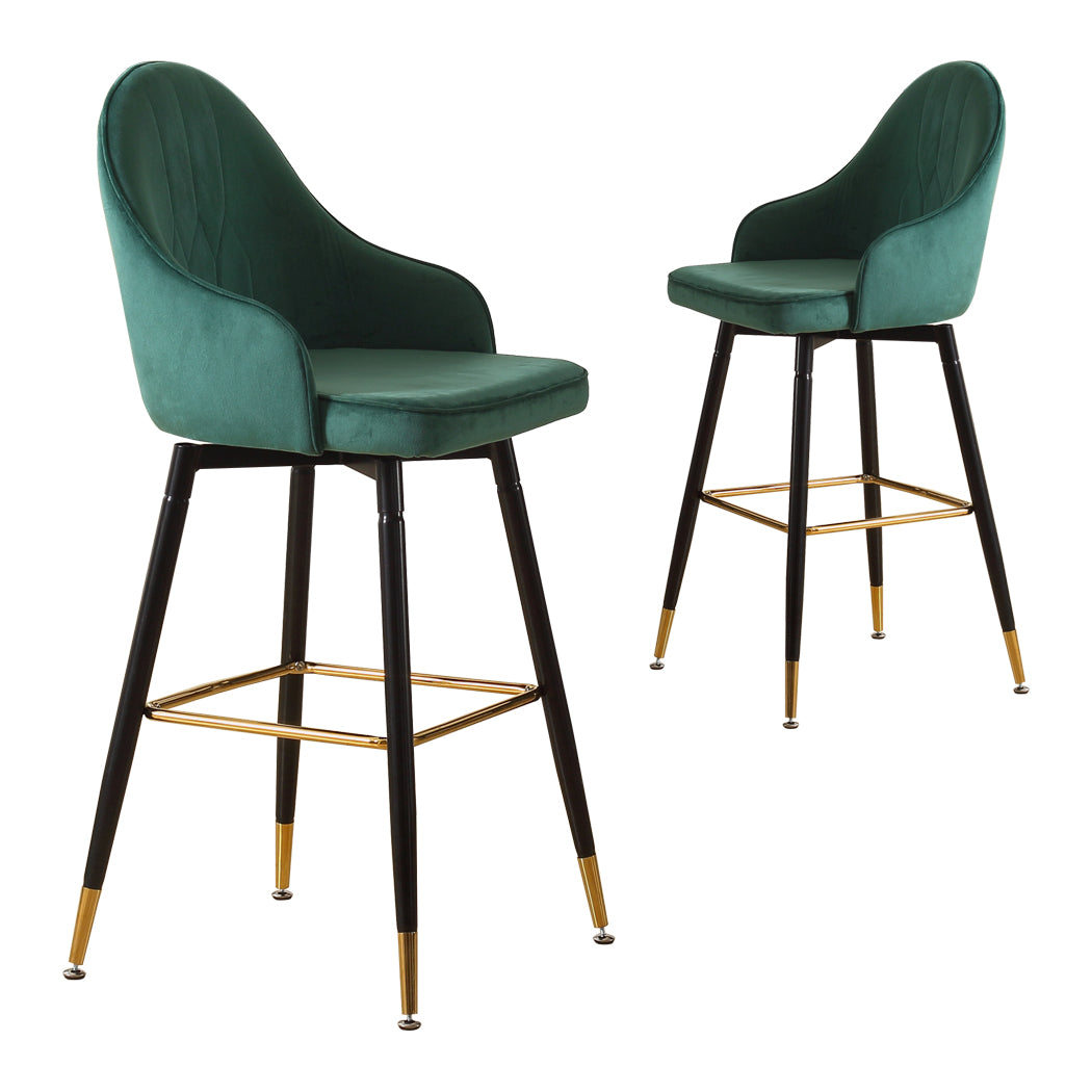 2x Bar Stools Stool Kitchen Chairs Swivel Velvet Barstools Vintage Green