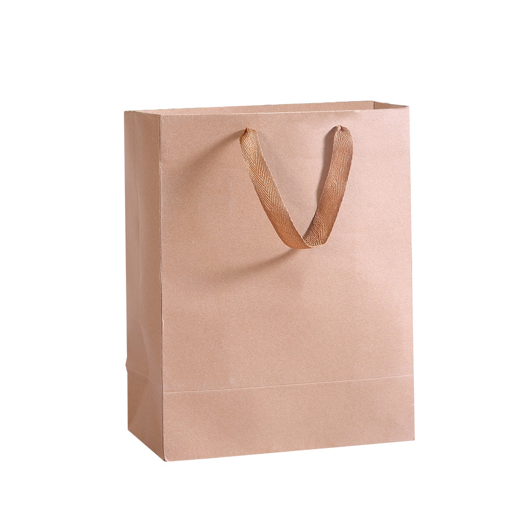 50x Brown Paper Bag Kraft Eco Recyclable Gift Carry Shopping Retail Bags Handles