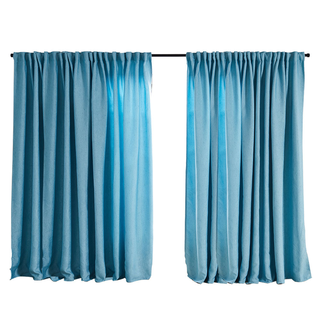 2X Blockout Curtains Curtain Living Room Window Blue 240CM x 230CM