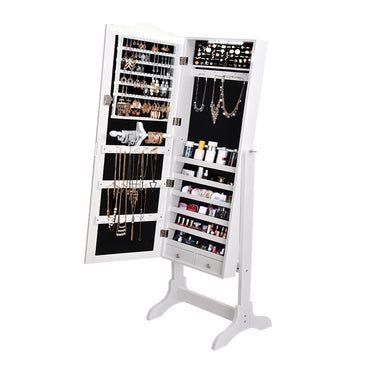 Levede Dual Use Mirrored Jewellery Dressing Cabinet with LED Light in White