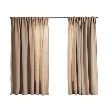 2X Blockout Curtains Curtain Living Room Window Buff 140CM x 230CM