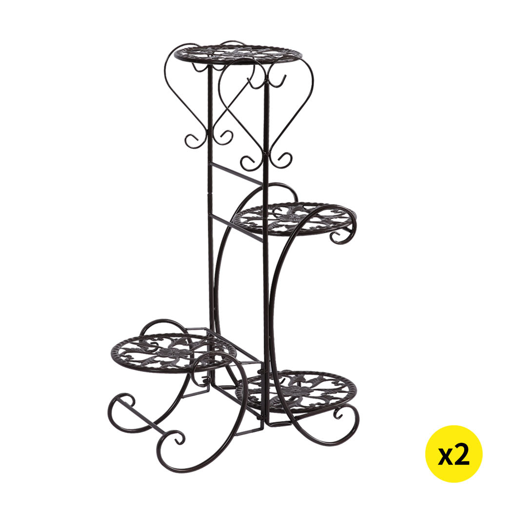 2x Levede Flower Shape Metal Plant Stand with 4 Plant Pot Space in Black Colour