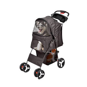 PaWz 4 Wheels Pet Stroller Dog Cat Cage Puppy Pushchair Travel Walk Carrier Pram