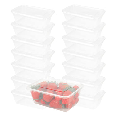 100 Pcs 750ml Take Away Food Platstic Containers Boxes Base and Lids Bulk Pack