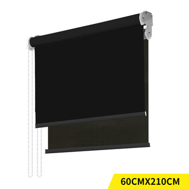 Modern Day/Night Double Roller Blinds Commercial Quality 60x210cm Black Black