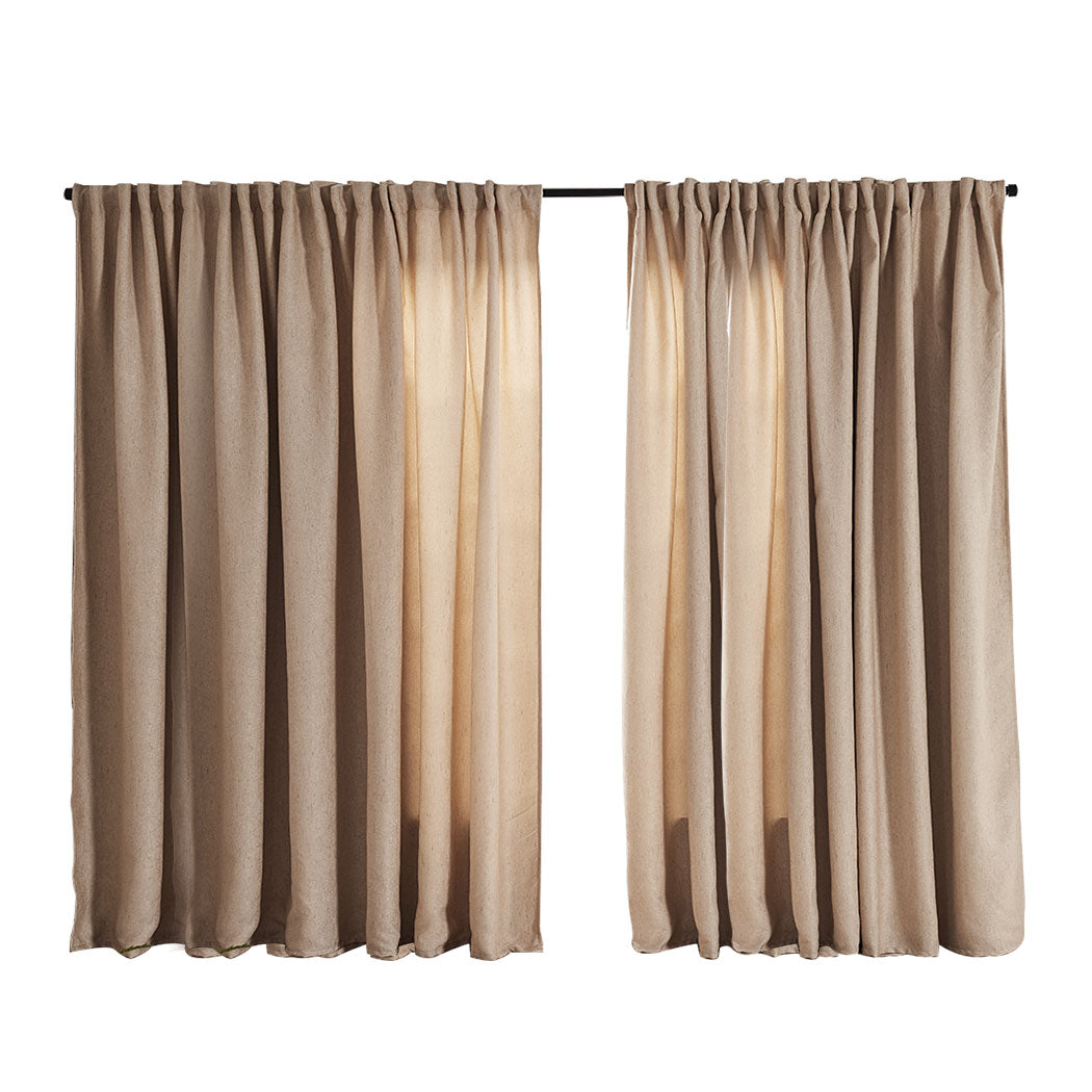 2X Blockout Curtains Curtain Living Room Window Buff 240CM x 230CM