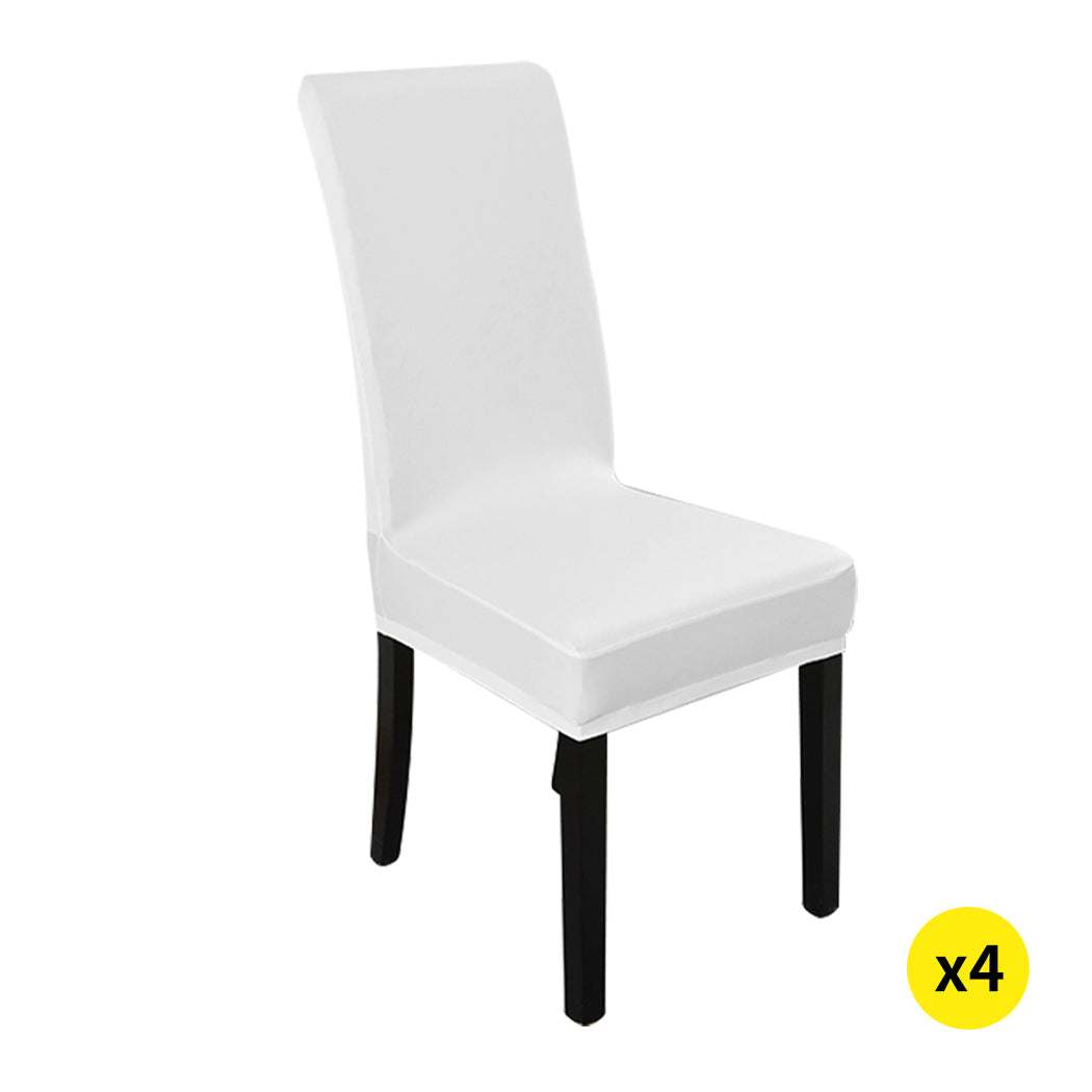 4x Stretch Elastic Chair Covers Dining Room Wedding Banquet Washable White