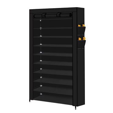 Levede 10 Tier Shoe Rack Portable Storage Cabinet Organiser Wardrobe Black Cover