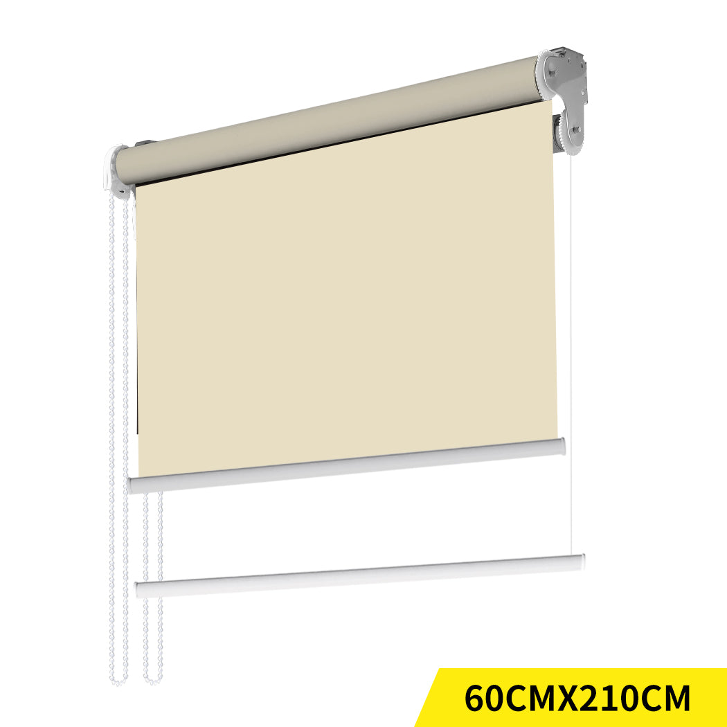 Modern Day/Night Double Roller Blinds Commercial Quality 60x210cm Cream White