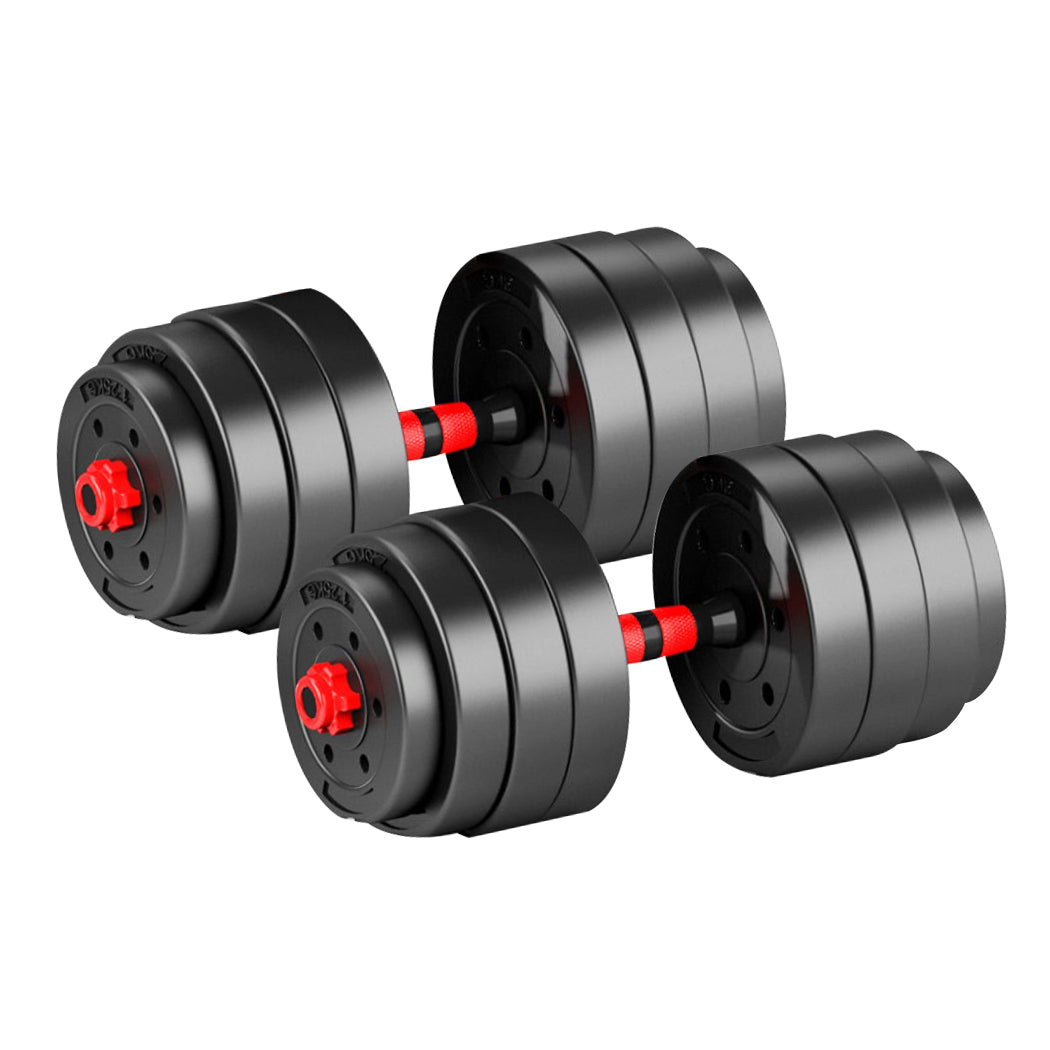 Dumbbells Barbell Weight Set 40KG Adjustable Rubber Home GYM Exercise Fitness