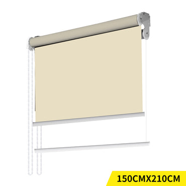 Modern Day/Night Double Roller Blinds Commercial Quality 150x210cm Cream White