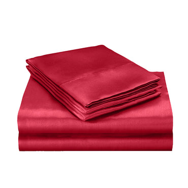 DreamZ Silk Satin Quilt Duvet Cover Set in Single Size in Burgundy Colour