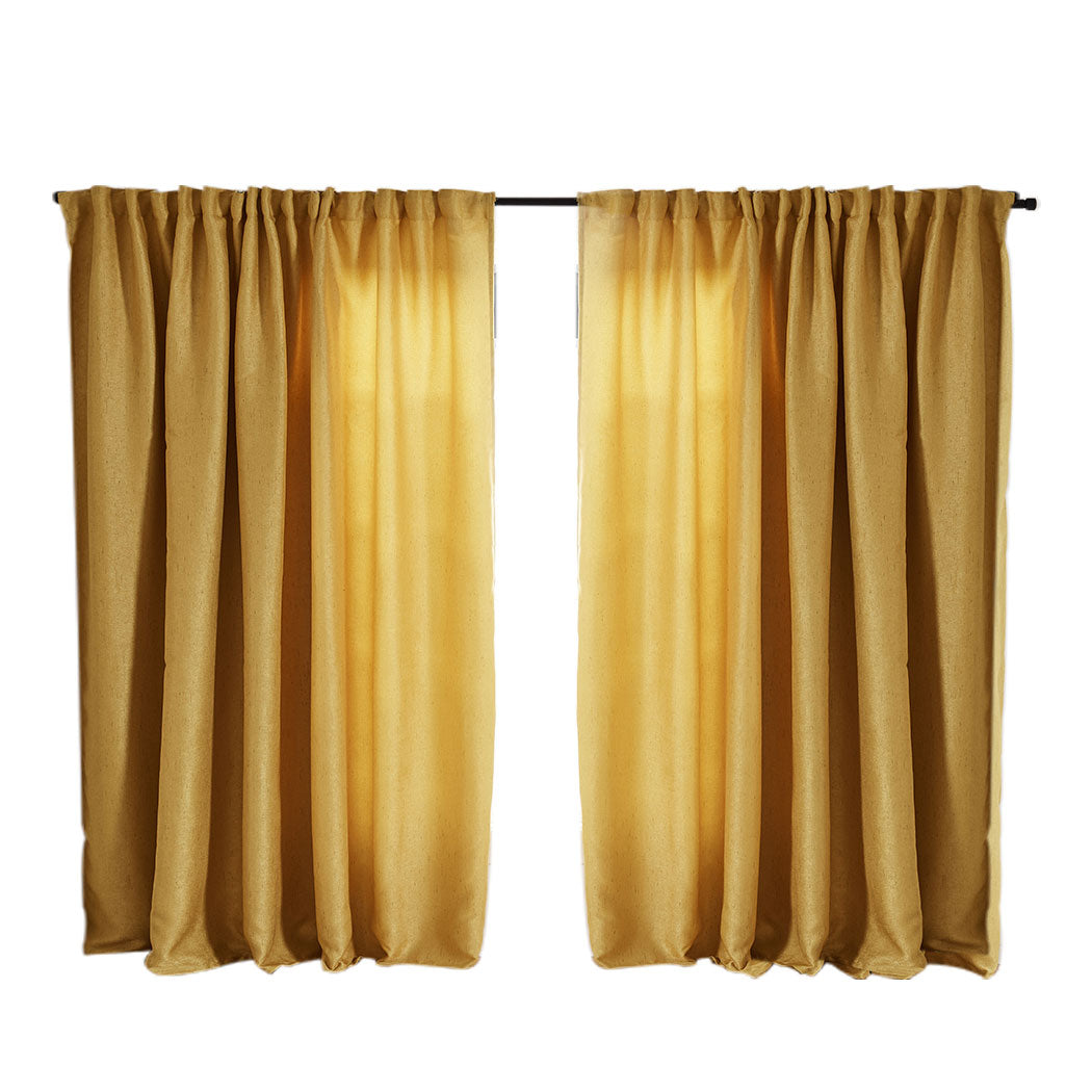 2X Blockout Curtains Curtain Living Room Window Mustard 180CM x 230CM