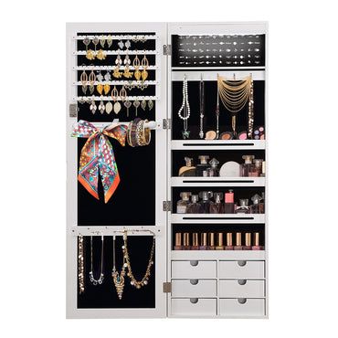 Levede Jewellery Cabinet Full Length Mirror Mirrored Organizer Box Stand White