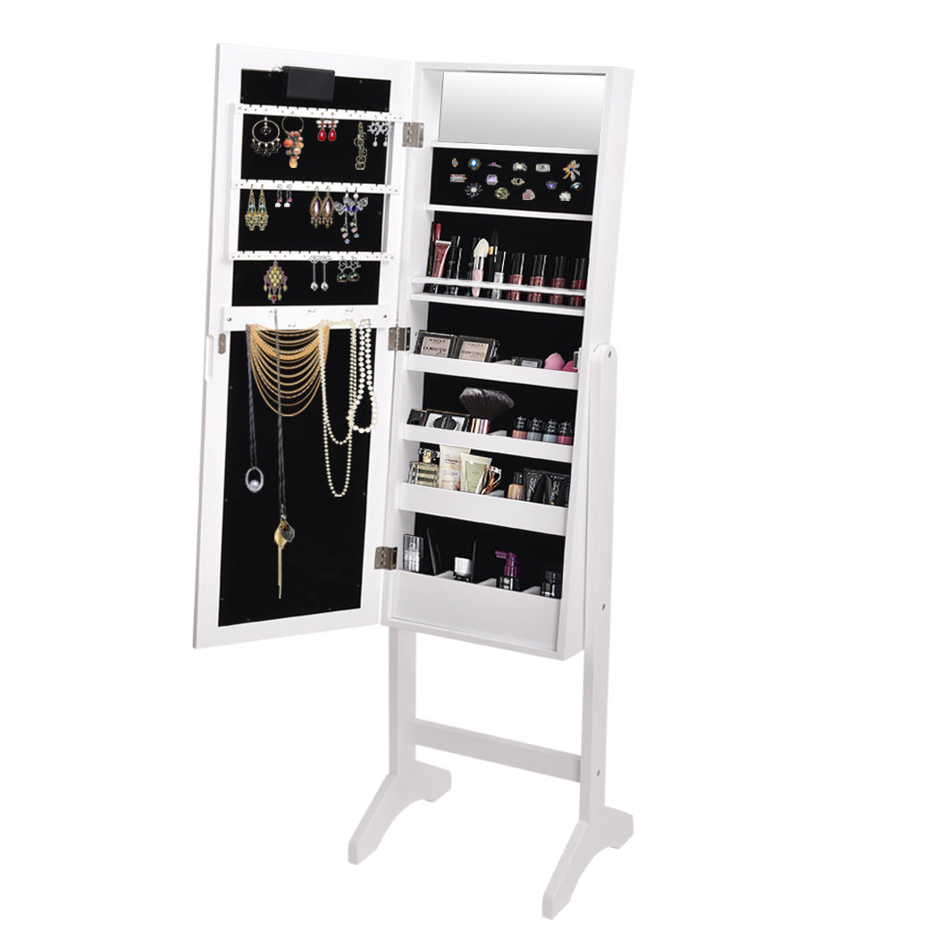 Levede Mirror Jewellery Cabinet Dressing Makeup Jewelry Storage  Organiser Wood