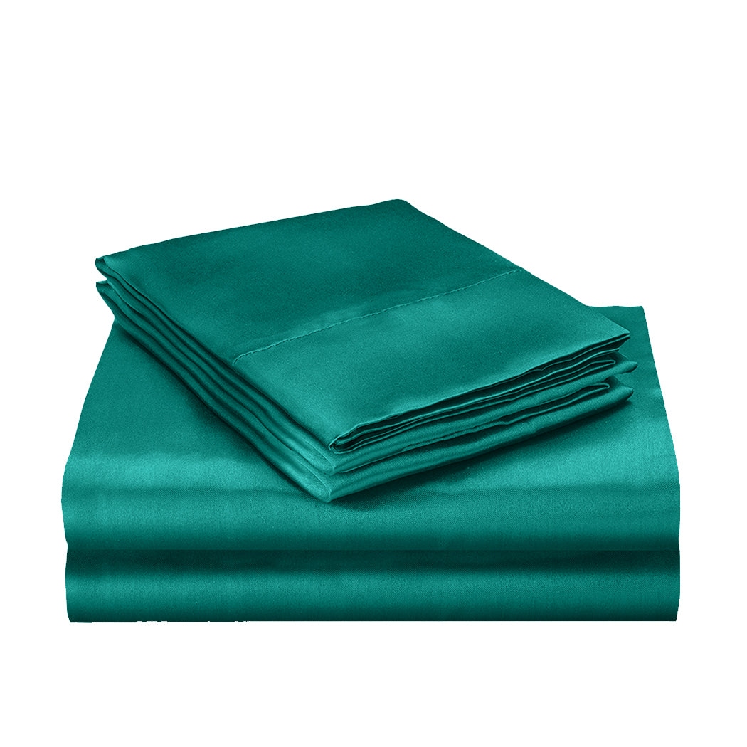 DreamZ Silk Satin Quilt Duvet Cover Set in Single Size in Teal Colour