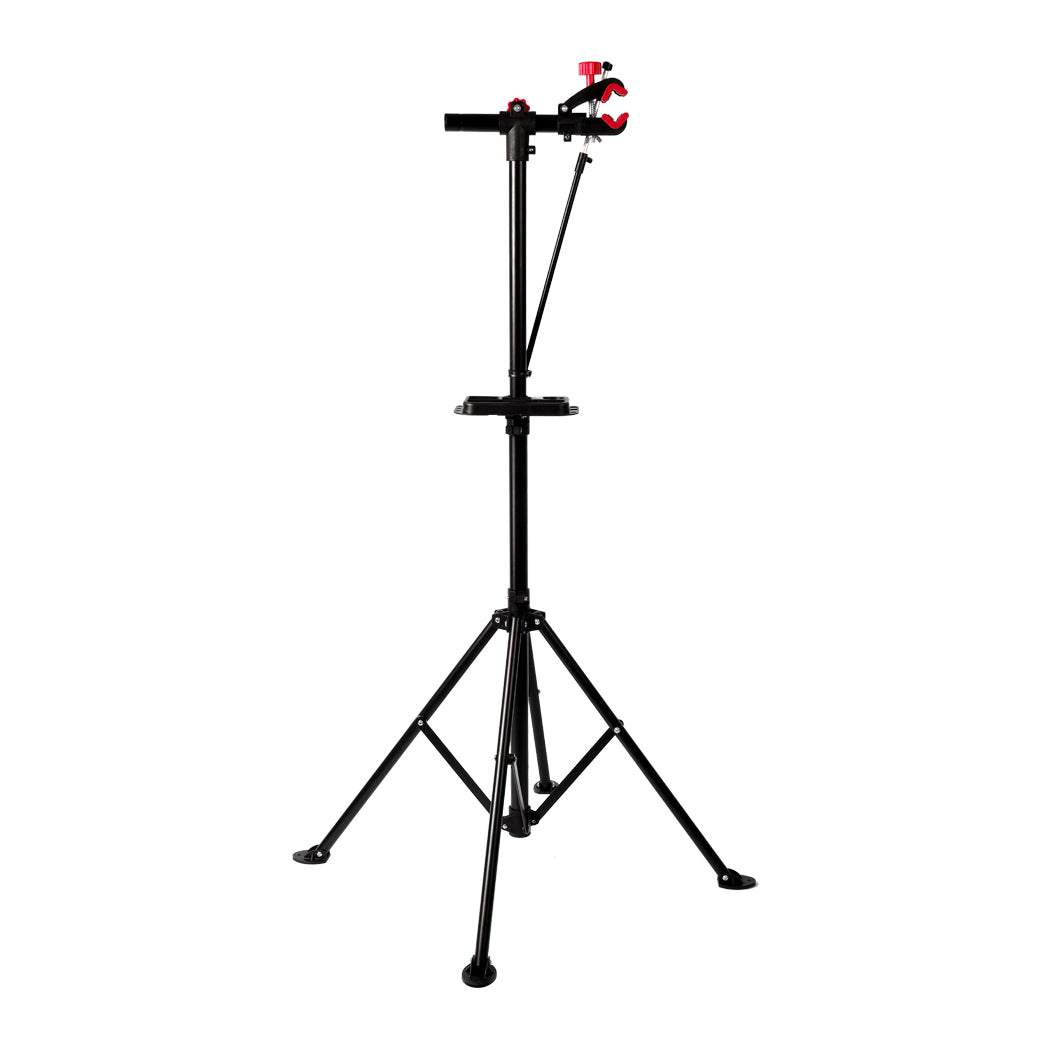 Bike Repair Stand Work Rack With Tool Tray Home Mechanic Bicycle Maintenance Red