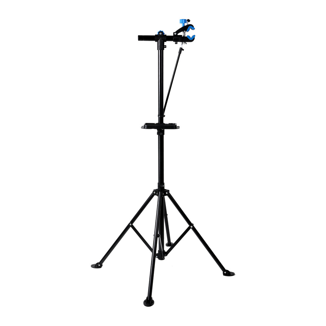 Bike Repair Stand Work Rack With Tool Tray Mechanic Bicycle Maintenance Blue