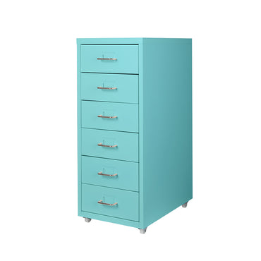 Filing Cabinet Storage Cabinets Steel Metal Home Office Organise 6 Drawer Blue