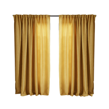 2X Blockout Curtains Curtain Living Room Window Mustard 132CM x 213CM