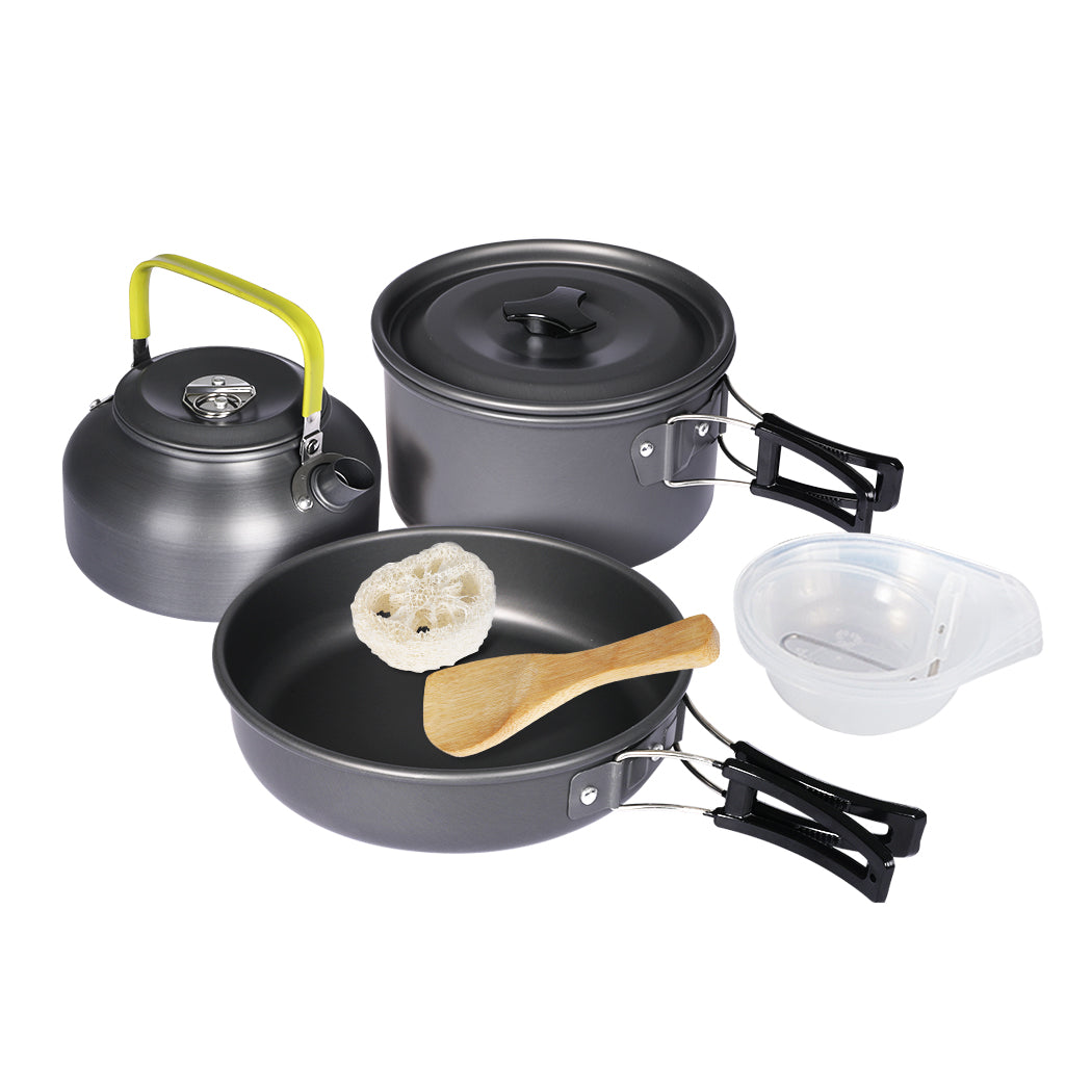 10Pcs Camping Cookware Set Outdoor Hiking Cooking Bowl Pot Pan Portable Picnic
