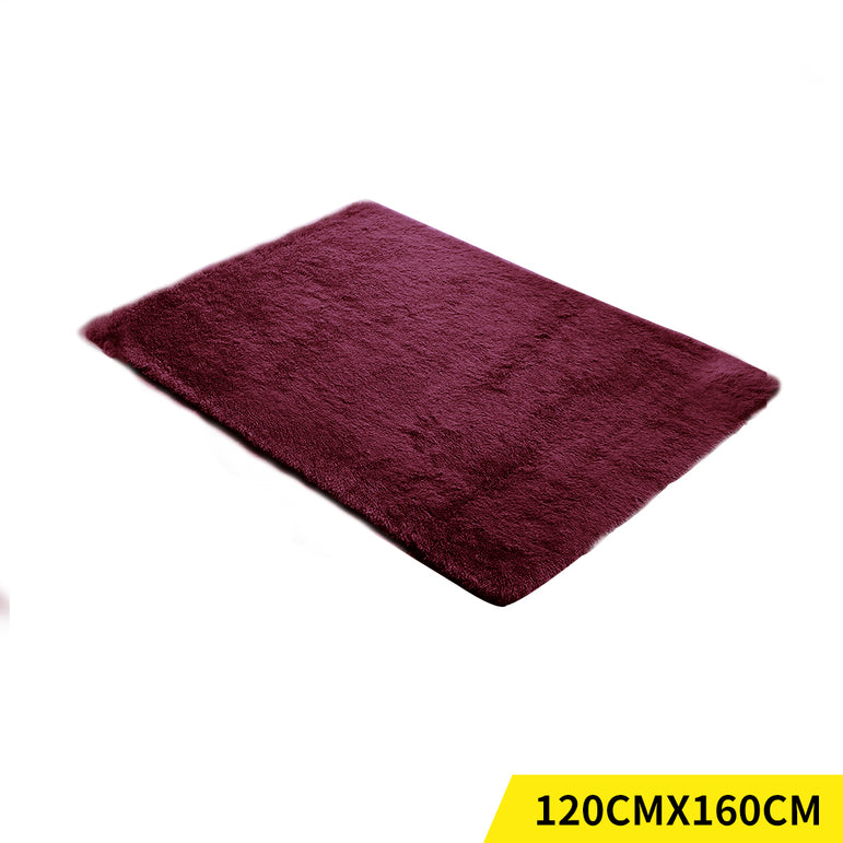 Designer Soft Shag Shaggy Floor Confetti Rug Carpet Decor 120x160cm Burgundy