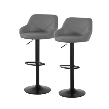 2x Bar Stools Stool Kitchen Chairs Swivel PU Barstools Industrial Vintage Grey