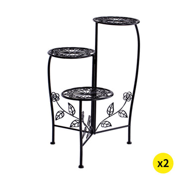 2X Wrought Iron Outdoor Indoor Flower Pots Plant Stand Garden Metal Corner Shelf