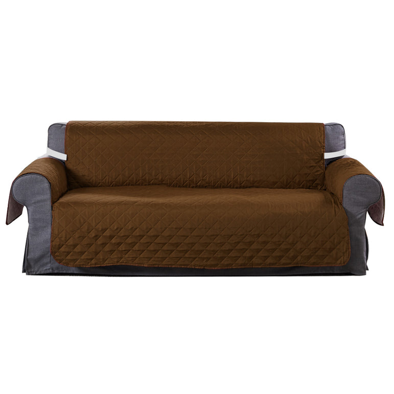 3 Seater Sofa Covers Quilted Couch Lounge Protectors Slipcovers Brown