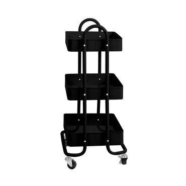 3 Tiers Kitchen Trolley Cart Steel Storage Rack Shelf Organiser Wheels Black