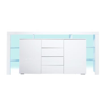 Levede Buffet Sideboard Cabinet Storage Modern High Gloss Cupboard Drawers White 192cm