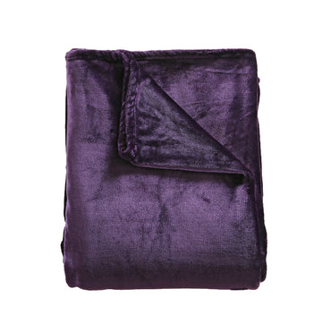 DreamZ 320GSM 220x160cm Ultra Soft Mink Blanket Warm Throw in Aubergine Colour
