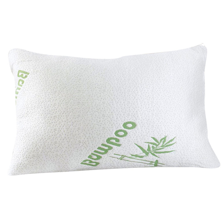 2x DreamZ Luxury Natural Memory Foam Bed Pillows Bamboo Fabric Cover 70x40cm