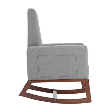 Nursing Baby Feeding Rocking Chair Linen Fabirc Solid Wood Frame Grey