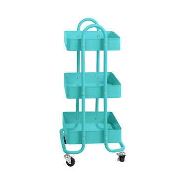 3 Tiers Kitchen Trolley Cart Steel Storage Rack Shelf Organiser Wheels Blue