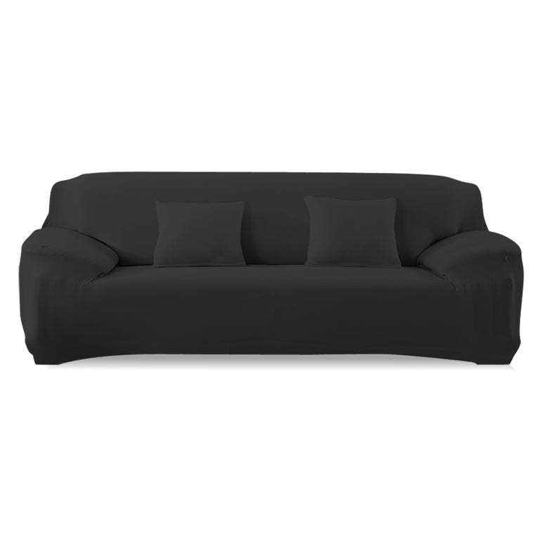 Easy Fit Stretch Couch Sofa Slipcovers Protectors Covers 4 Seater Black