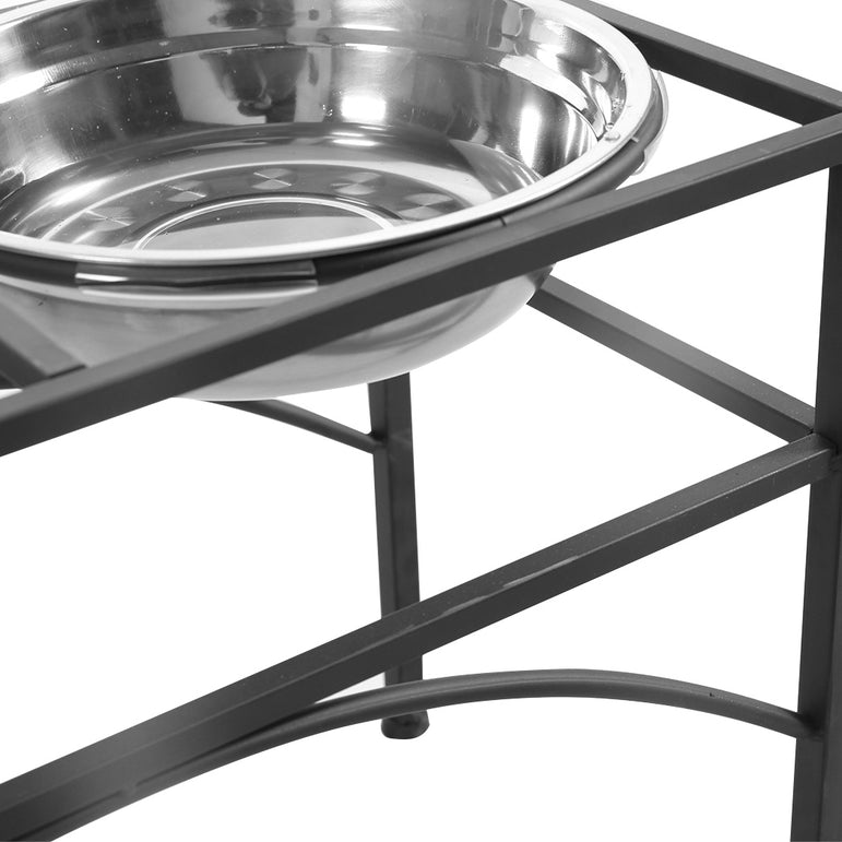 PaWz Dual Elevated Raised Pet Dog Feeder Bowl Stainless Steel Food Water Stand
