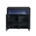 Levede Buffet Sideboard Storage Cabinet Modern High Gloss Furniture LED Black