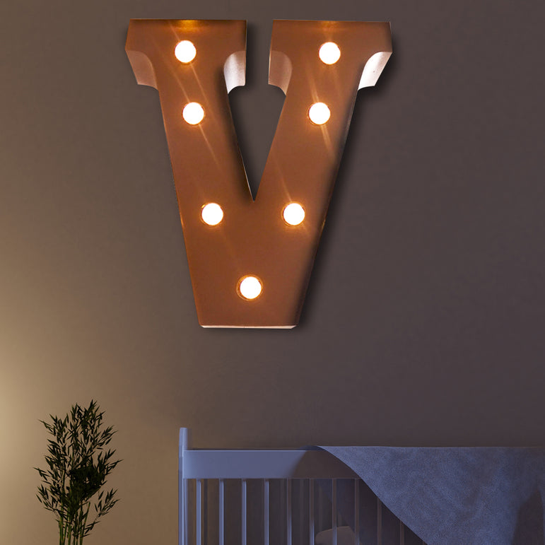 LED Metal Letter Lights Free Standing Hanging Marquee Event Party D?cor Letter V