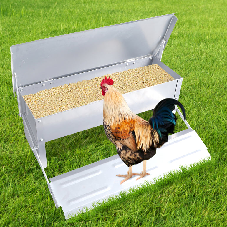 Automatic Chicken Feeder Self Open Poultry Alumnium Treadle 5KG Capacity Outdoor