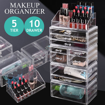 10 Drawers Cosmetic Makeup Organizer Storage Jewellery Box Clear Acrylic